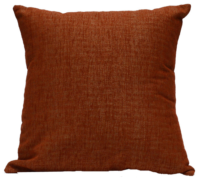 CoCo B. Kitchen & Home - Throw Pillow Chenille Solid Orange - View in Your Room! Houzz