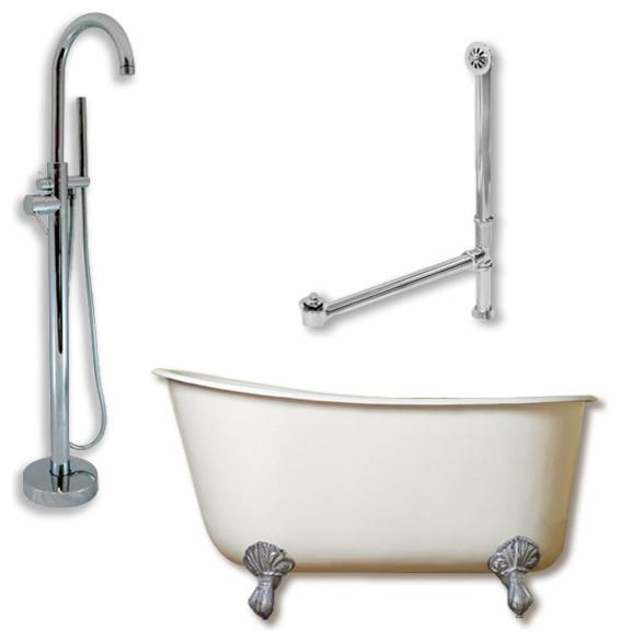 """Cast Iron Swedish Slipper Tub 58"""", Standing Tub Filler Shower Chrome Package."""