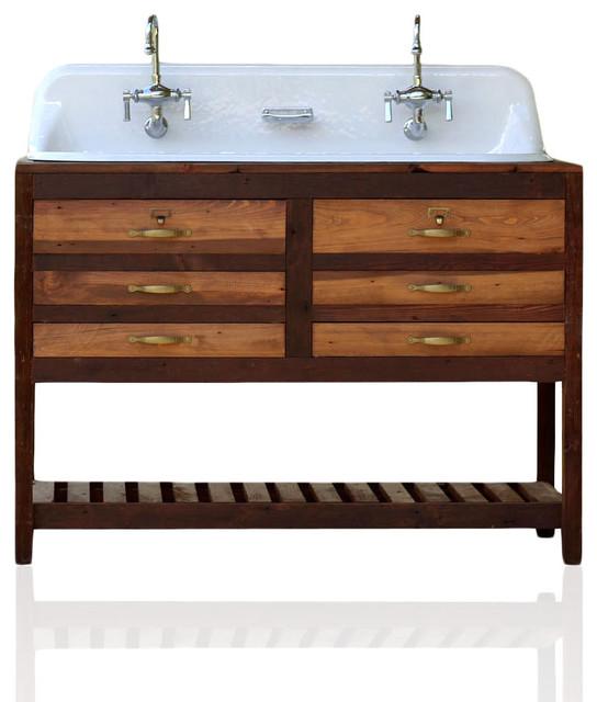 Reclaimed Wood Bath Vanity With Trough Sink 48 Transitional Bathroom Vanities And Sink