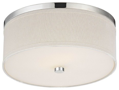 Polished Chrome Ceiling Light With Cream Drum Shade 555126