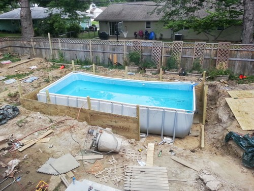 Deck surround overlay above ground pool for Punch home and landscape design won t install