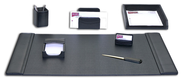 Black Leather 7 Piece Desk Set Desk Accessories By Dacasso