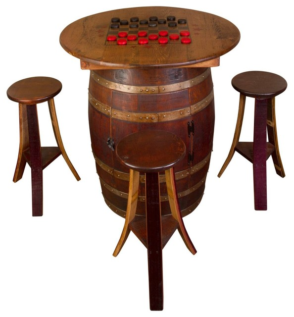 Whiskey Barrel Game Table Set Rustic Game Tables By