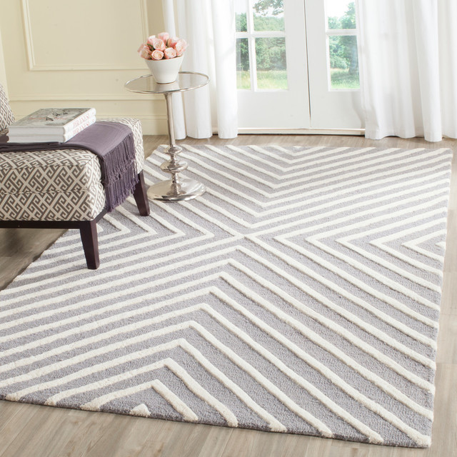 Safavieh Cambridge Hand Tufted Rug, Silver and Ivory, 5'x7'