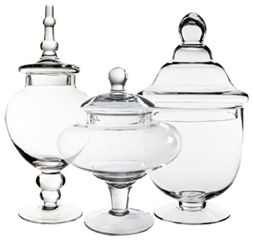 Glass Apothecary Candy Buffet Jars, Set of 3