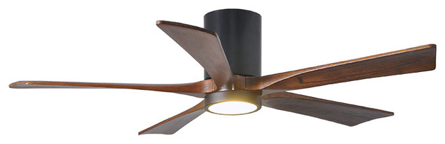 Irene 5 Hugger Ceiling Fan With Light Kit, Walnut Wood Blades And Remote.