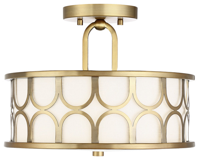 2-Light Semi Flush Mount Light, Natural Brass.