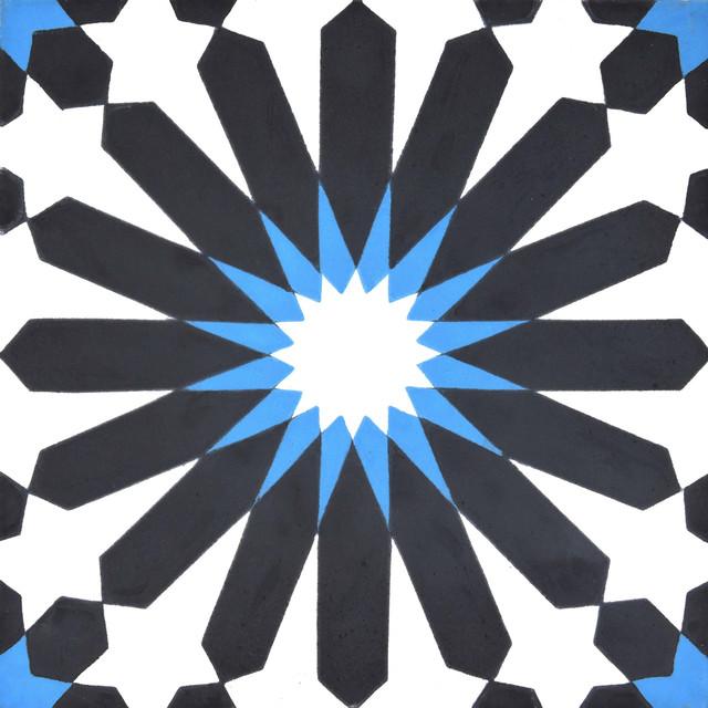 """8""""x8"""" Alhambra Handmade Cement Tile, Black/Blue, Set of 12"""