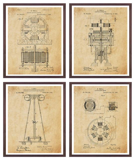 """Tesla Patent Art 4 Print Collection, Antique Paper, 16""""x20""""."""