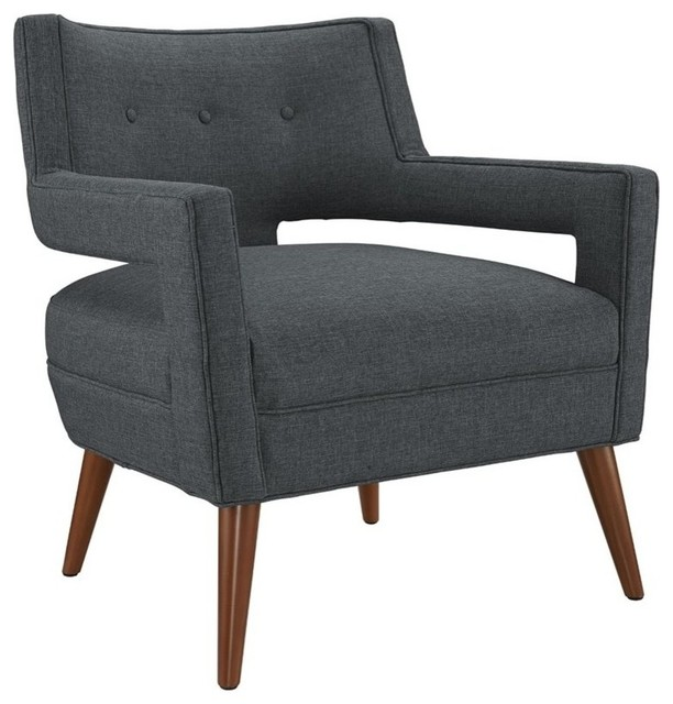 Nice Modern Gray Sheer Upholstered Fabric Armchair Midcentury Armchairs  And Accent Chairs