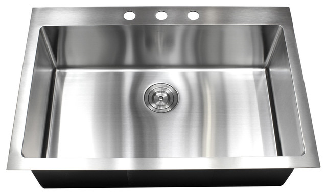"""33"""" Drop-In/Top-Mount Stainless Steel Single Bowl Kitchen"""