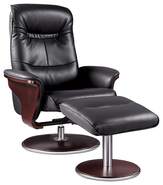 Milano Leather Swivel Recliner And Ottoman, Black