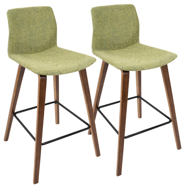 Cabo Mid-Century Modern Counter Height Stool, Set Of 2, Walnut, Green.