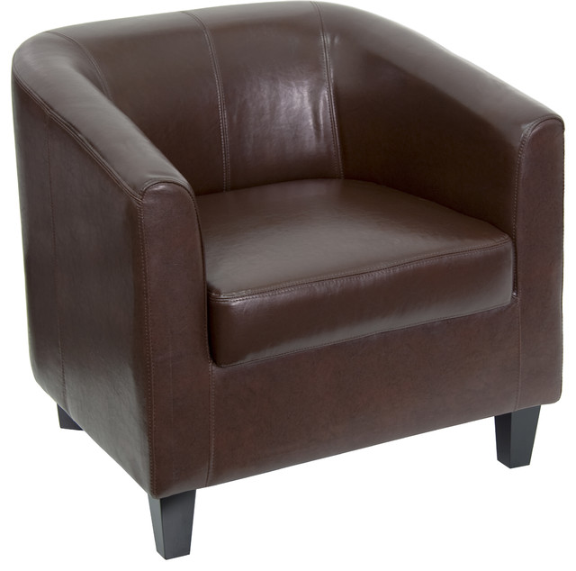 MFO Brown Leather Office Guest Chair / Reception Chair