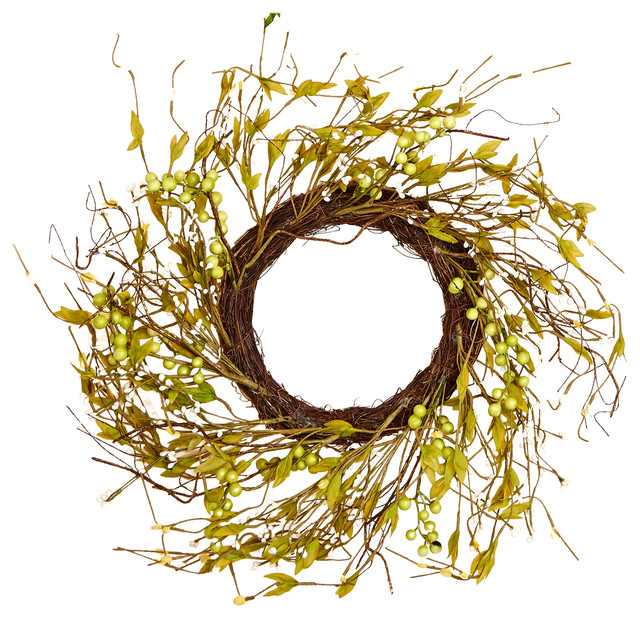 """Wild Berry And Leaf Wreath, 18""""."""