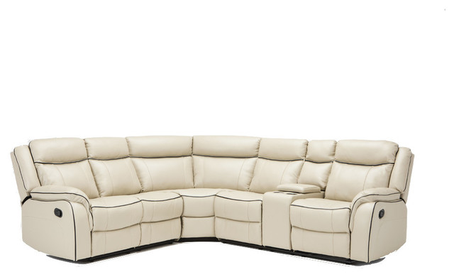 Classic Large Bonded Leather Reclining Corner Sectional Sofa, Beige