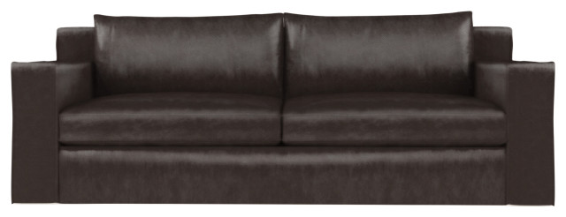 Mulberry 8' Leather Sofa, Chocolate, Extra Deep