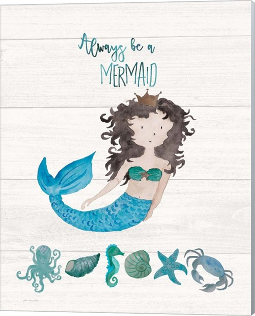 Be A Mermaid Canvas Wall Art By Jo Moulton 16 X20 Beach Style Kids Wall Decor By Virventures