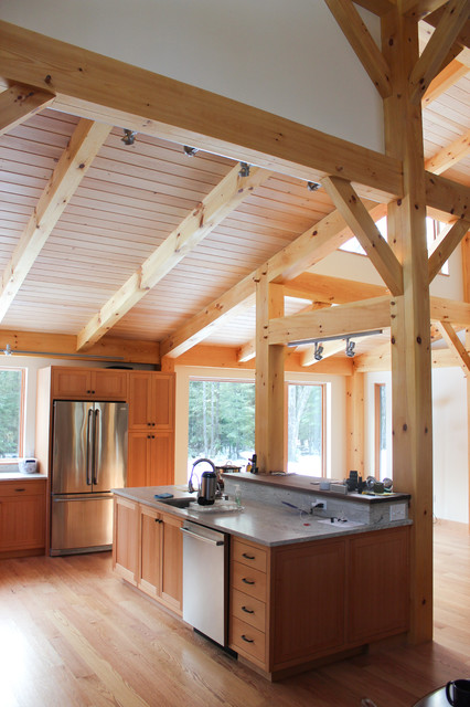 Timber Frame Great Room Kitchen Rustic Kitchen