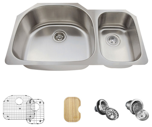 Offset Double Bowl Stainless Steel Kitchen Sink, Wide Left, Ensemble