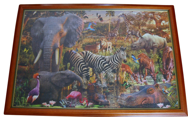 african animals 3000 piece puzzle completed and framed eclectic