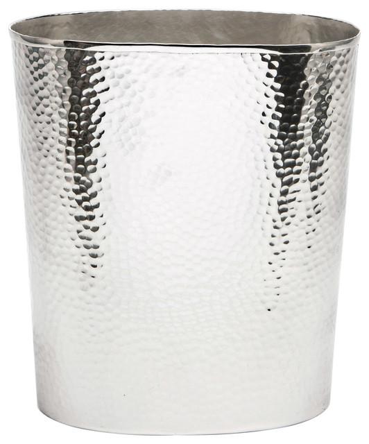 Verum Hammered Metal Rectangle Waste Basket Shiny Nickel Contemporary Bathroom Accessories