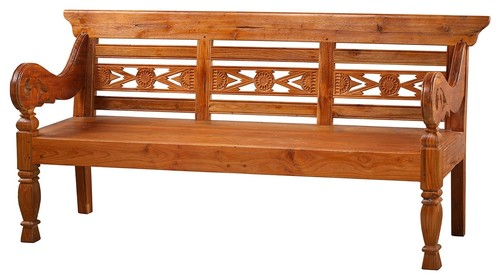 73L Lena Bench Hand Crafted Exotic Teak Wood Hand Carved One of a Kind
