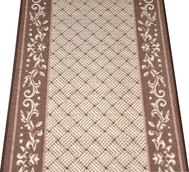 Amazing Caramel Scroll Border Carpet Runner   Purchase By The Linear Foot  Hall And Stair