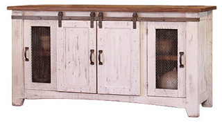 """White Wash 70"""" TV Stand With Sliding Barn Doors"""