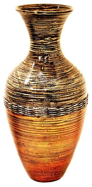 Terry 25 Spun Bamboo Floor Vase Brown And Gold Contemporary