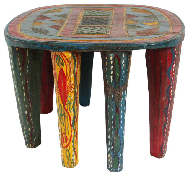 Miraculous Consigned Colorful Nupe Stool Gmtry Best Dining Table And Chair Ideas Images Gmtryco