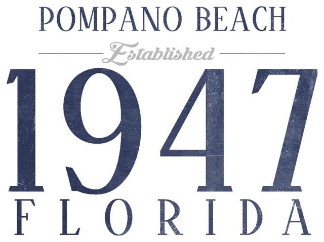 Quot Pompano Beach Florida Established Date Blue Quot Print