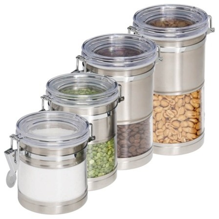 Kitchen Canisters Stainless Steel And Acrylic Set Of 4 Contemporary Kitchen Canisters