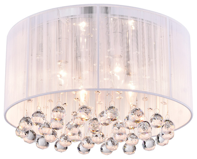 Belle 4 Light White Thread And Chrome Flushmount With Hanging Crystals Contemporary Flush Mount Ceiling Lighting By Edvivi Llc