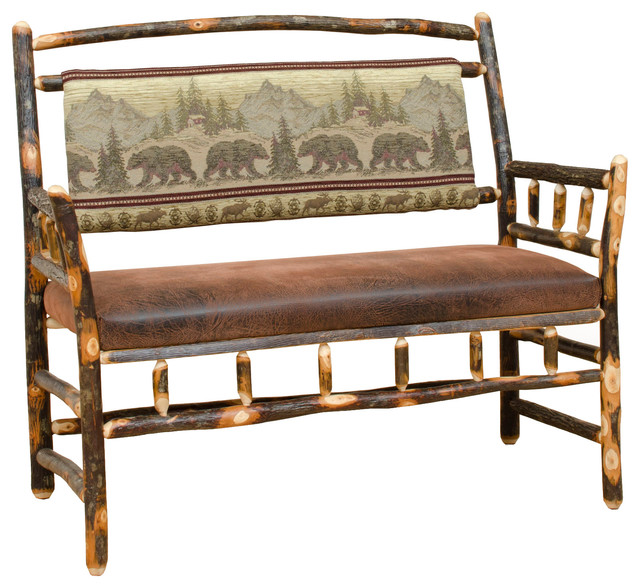 Rustic Hickory Upholstered Deacon Bench, Golden. -1