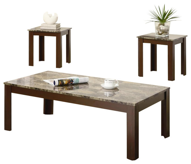 Coaster 3 Piece Occasional Table Sets Cocktail And End Table Set In Brown.