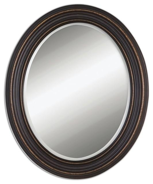 Ovesca Dark Rubbed Bronze Oval Mirror.
