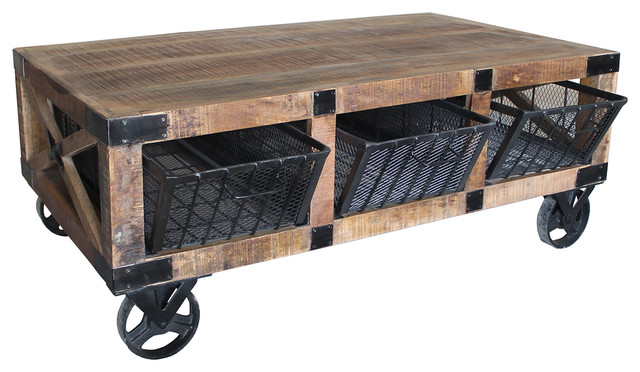 Attirant Reclaimed Wood Cart Coffee Table