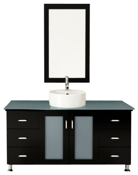 "47"" Grand Lune Large Single Vessel Sink Modern Bathroom Vanity With Glass Top."