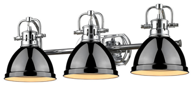 Bathroom Vanity Lights In Black duncan 3 light vanity, chrome with black shade - traditional