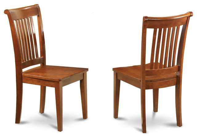 set of 2 portland slat back chair - transitional - dining chairs