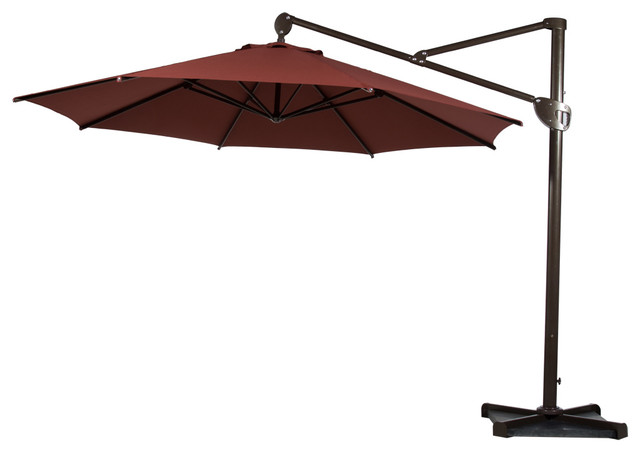 Good 11u0027 Heavy Duty Offset Cantilever Outdoor Umbrella, Vertical Tilt, Red  Contemporary Outdoor