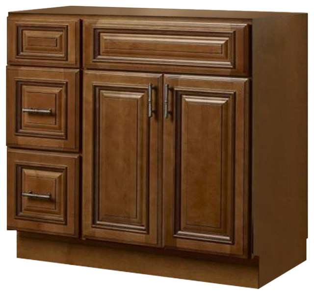 Jsi Kingston 36 Maple Vanity Cabinet Base, Left-Hand Drawers.