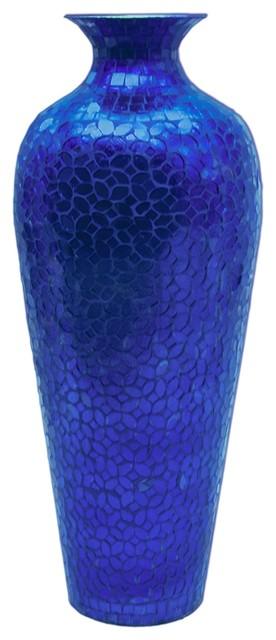 DecorShore Vedic Vase Sparkling Metal Decorative Floor Vase, Cobalt Blue