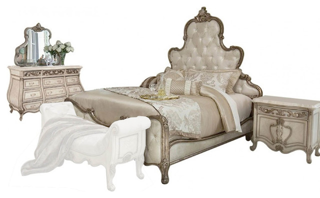 AICO Platine de Royale Panel Antique Platinum Bedroom Set ...