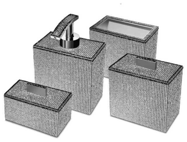 Starlight Square Bathroom Accessories Set With Swarovski 4 Piece Contemporary Accessory Sets By Agm Home