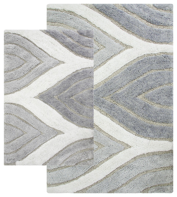 Davenport 2-Piece Bath Rug Set, Gray.