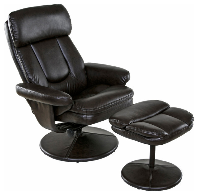 Relaxzen Basic Bonded Leather Recliner With Ottoman, Brown Contemporary  Recliner Chairs