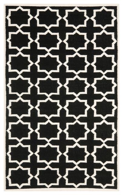 Safavieh Jayden Dhurrie Rug, Black And Ivory, 10&x27;x14&x27;.