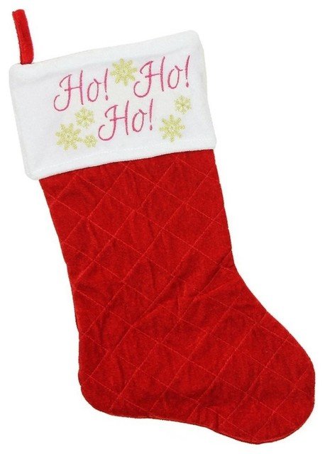 Red Velvet Christmas Stockings.19 Quilted Red Velvet Ho Ho Ho Embroidered Christmas Stocking